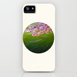 Mid Century Modern Round Circle Photo Graphic Design Pink Japanese Blossoms Over Green Pond iPhone Case
