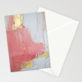 Melody: a pretty minimal abstract painting in gold pink and white by Alyssa Hamilton Art Stationery Cards