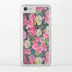 Vintage grunge Floral Rose and Birds Pattern on #Society6 Clear iPhone Case