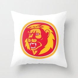 Angry Lion Head Roar Circle Retro Throw Pillow