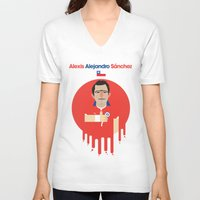 chile V-neck T-shirts featuring Alexis Sanchez - Chile by Gary  Ralphs Illustrations