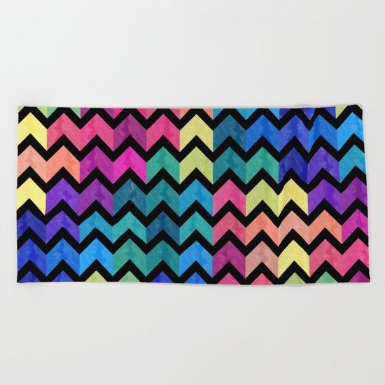 Watercolor Chevron Pattern VII Beach Towel