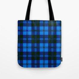 Blue Tartan Wool Material Tote Bag