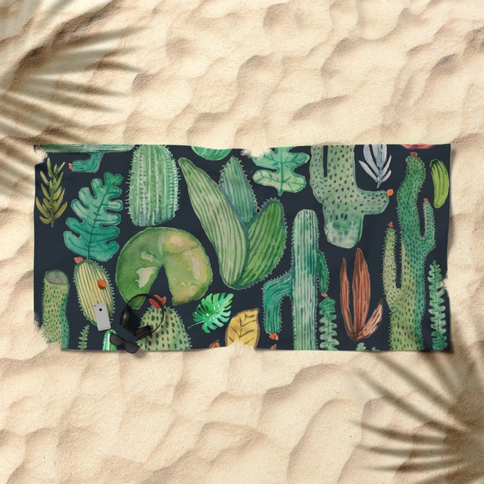 Summer Nature at Night Beach Towel