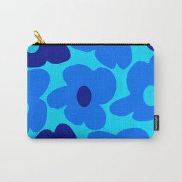 Blue Retro Flowers Pastel Blue Background #decor #society6 #buyart Carry-All Pouch