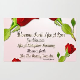 Red, Rose And pink With Quote Rug