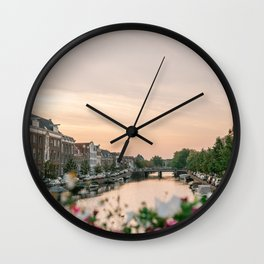 The canals at Sunset in the summer || cityscape photography of the historical city Haarlem, the Netherlands | Lifestyle travel photography Art Print Wall Clock