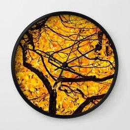 Golden Veins Of Autumn Wall Clock
