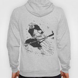 Skull knight in the snow - black and white - medieval grim reaper Hoody