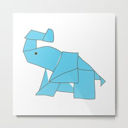 Origami Elephant Metal Print