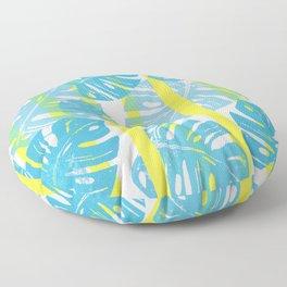 Linocut Monstera Neon Floor Pillow
