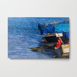 Boats at seaside in the turkish blue aegean sea Metal Print