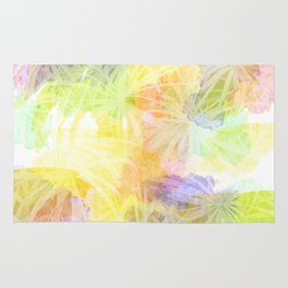 Watercolour Leaves Texture Rug