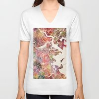 boston V-neck T-shirts featuring Boston by MapMapMaps.Watercolors