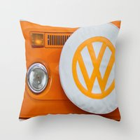 volkswagen Throw Pillows featuring Volkswagen Orange by Alice Gosling
