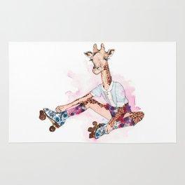 Roller Skating Giraffe Watercolor Rug