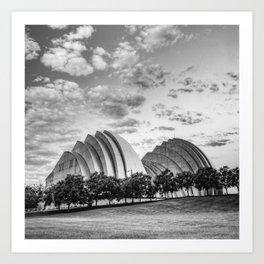 Kansas City Kauffman Center Landscape - Black and White Square Art Print