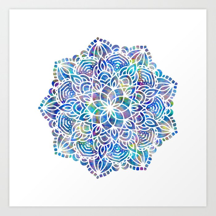 Mandala little mermaid ocean blue art print