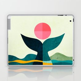 mid century whale sun sea Laptop & iPad Skin
