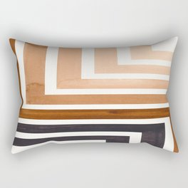 Raw Umber Mid Century Modern Watercolor Colorful Ancient Aztec Art Pattern Minimalist Geometric Patt Rectangular Pillow