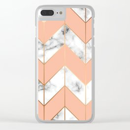 WHITE MARBLE WITH GOLD AND ROSE CHEVRON Clear iPhone Case