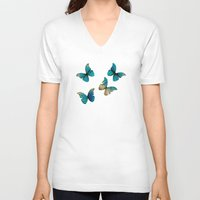 butterflies V-neck T-shirts featuring Butterflies by Brontosaurus