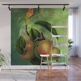 Bombay Mangos with Butterfly, Vintage Botanical Illustration Collage Art Wall Mural
