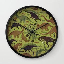 Camouflage Dinosaur Geometric Pattern Wall Clock