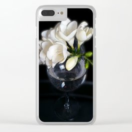 white freesia in a glass Clear iPhone Case