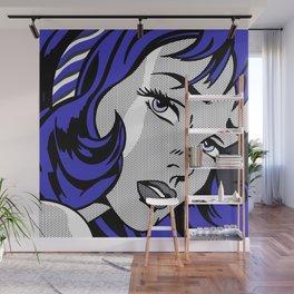 Girl with Hair Ribbon03++BlueHair2 Wall Mural