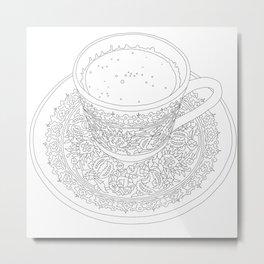 Tukish Coffee Line Art Metal Print