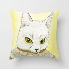 SWEATER AND ALSO CAT Throw Pillow