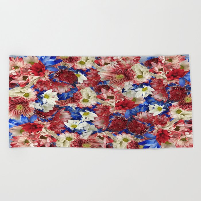 Red White Blue Flora Beach Towel