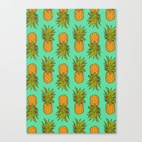 pineapples Canvas Prints featuring Pineapples by Stephanie Keir