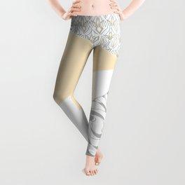 Light grey patchwork beige Leggings