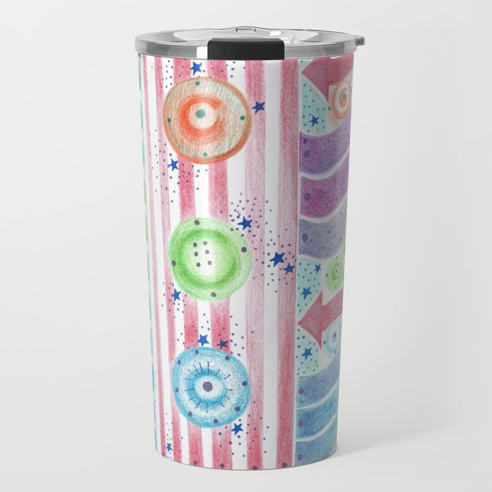 three buttons Travel Mug