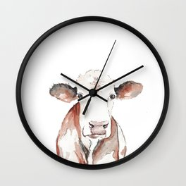 Cow Watercolor Wall Clock