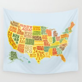 United States of America Map Wall Tapestry