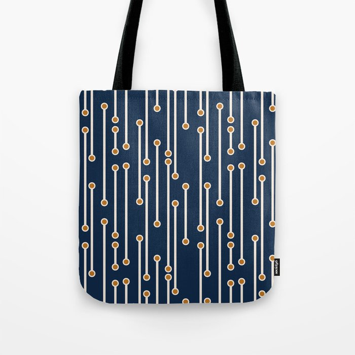 Dotted Lines in Navy, Cream and Orange Tote Bag