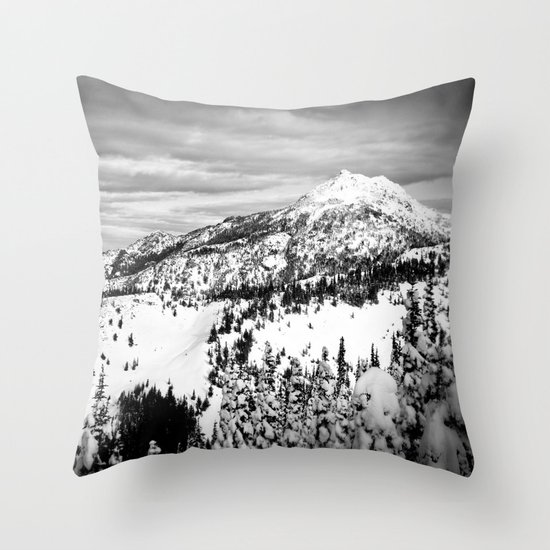 Snowy Mountain Peak Black and White Throw Pillow