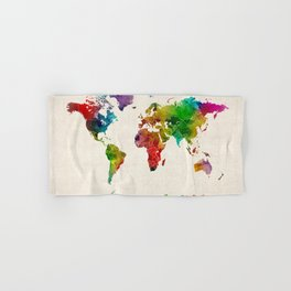 Watercolor Map of the World Map Hand & Bath Towel