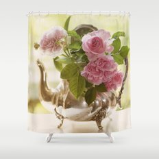 Pink English Roses in a silver Pot- Vintage Rose Stilllife Photography Shower Curtain