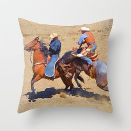 The Saddle Bronc and the Pickup Man - Rodeo Art Throw Pillow