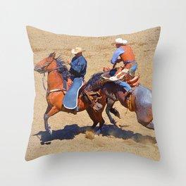 The Saddle Bronc and the Pickup Man - Rodeo Art Throw Pillow