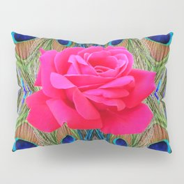 FUCHSIA PINK ROSE & BLUE PEACOCK FEATHERS ART ABSTRACT Pillow Sham