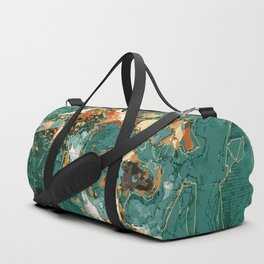 Macelas - Small flowers digitally stylized green marble Duffle Bag