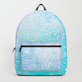 Watercolor White Mandala Illustration Pattern Backpack