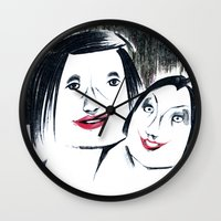 lipstick Wall Clocks featuring Lipstick by Linda Roy Art