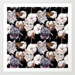 Cotton Flower & Cat Pattern on Black 02 Art Print