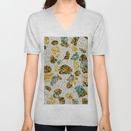 Gold, Copper, and Blue Mosaic Abstract Unisex V-Neck